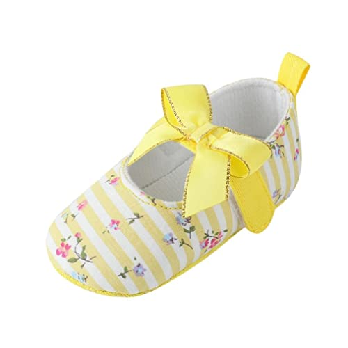 b892e480b6b87 Infant Baby Girls Bow Print Crib Shoes Soft Sole Anti-Slip Striped First  Walker Single Shoes (0~6 Month