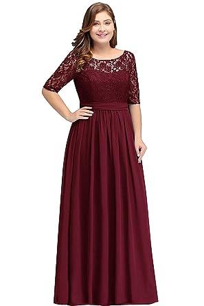 0d8da796b1c MisShow Damen Abendkleider Maxilang Frauen Plus Size Kleid Abend  Cocktailkleider Lange Maxi-Kleid Weinrot 22W  Amazon.de  Bekleidung