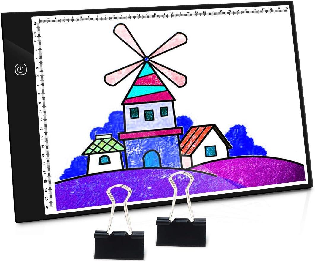 Ultra Mince 5mm Portable Lumineuse Planche /à Dessin USB Rechargeable avec luminosit/é LED r/églable pour Arts Dessiner Croquis Architecture Calligraphie Diamond Painting PullPritt Tablette Lumineuse A4