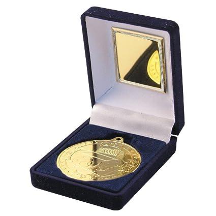 Dorado medalla de balón de fútbol con estuche de ...