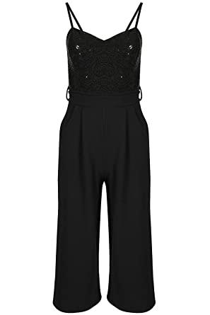 bbdf4b4d8b2 Be Jealous Womens Sequin Belted Wide Leg Ladies Cami Strap Bandeau Romper Playsuit  Jumpsuit UK Plus Size 8-16  Amazon.co.uk  Clothing