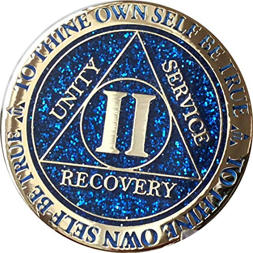 RecoveryChip 2 Year AA Medallion Reflex Blue Glitter Gold Plated Color Chip -