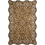 Cheap Safavieh Heritage Collection HG821A Handcrafted Traditional Oriental Beige and Blue Wool Scallop Area Rug (4′ x 6′)