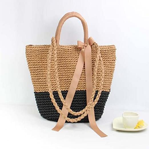 be3de5a5a4f2 Amazon.com  Fanspack Womens Summer Beach Straw Tote Handbags Ribbon Bowknot  Crossbody Shoulder Bag Purse  Clothing