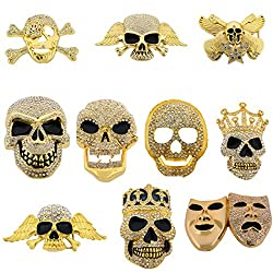 10 Pieces Skull Skeleton Crossbones Gold Rhinestones Belt Buckles