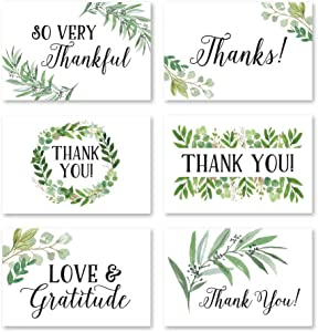24 Greenery Foliage Thank You Cards With Envelopes, Simple Note For Adult Funeral Sympathy or Gift Gratitude Supplies For Grad, Birthday, Baby or Watercolor Bridal Wedding Shower For Boy or Girl Kid