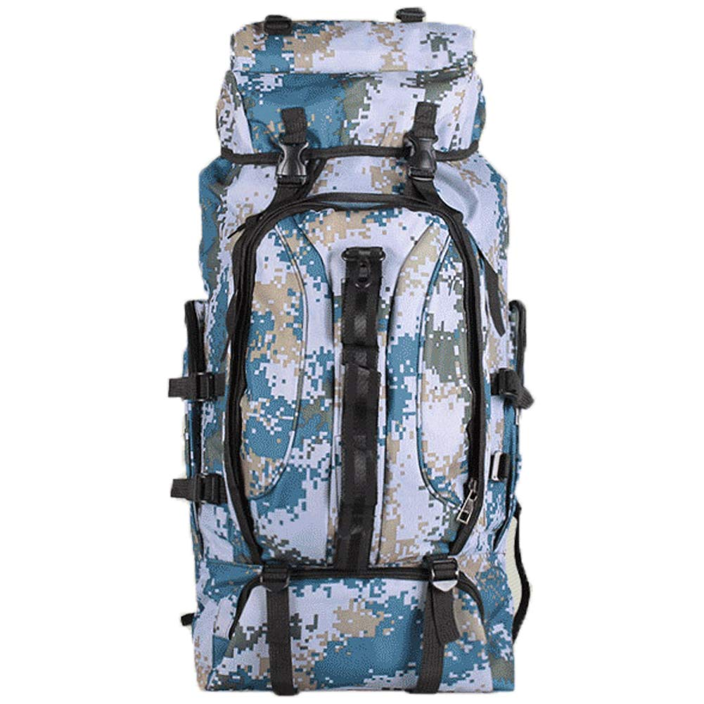 Monvecle Hiking Daypack 90L, Rucksack Travel Sports Trekking Backpack Camping Cycling Waterproof Ultralight Military Camo Blue