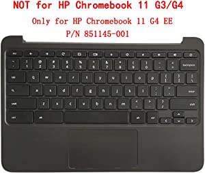 CAPARTS New Palmrest Keyboard & Touchpad Compatible with HP Chromebook 11 G4 EE,P/N 851145-001 EAY0702301A Black