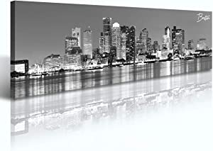 """DJSYLIFE-Boston Skyline Wall Art-Canvas Wall Art-Black and White Modern Panoramic Cityscape Pictures Paintings for Bedroom Office Decor, Ready to Hang 13.8""""x47.3"""""""