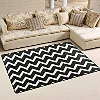 DEYYA Super Soft Modern Black White Chevron Area Rugs Living Room Carpet Bedroom Rug for Children Play Solid Home Decorator Floor Rug and Carpets 60 x 39 Inch