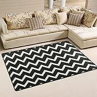 DEYYA Super Soft Modern Black White Chevron Area Rugs Living Room Carpet Bedroom Rug for Children Play Solid Home Decorator Floor Rug and Carpets 60 x 39 Inch