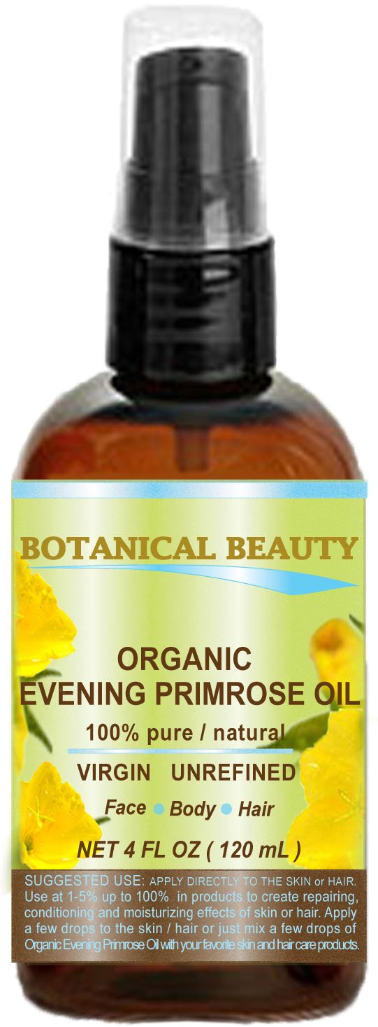 ORGANIC EVENING PRIMROSE OIL. 100% Pure/Natural/Undiluted/Unrefined/Certified Organic/Cold Pressed Carrier Oil for skin and hair. 4 Fl.oz - 120ml.