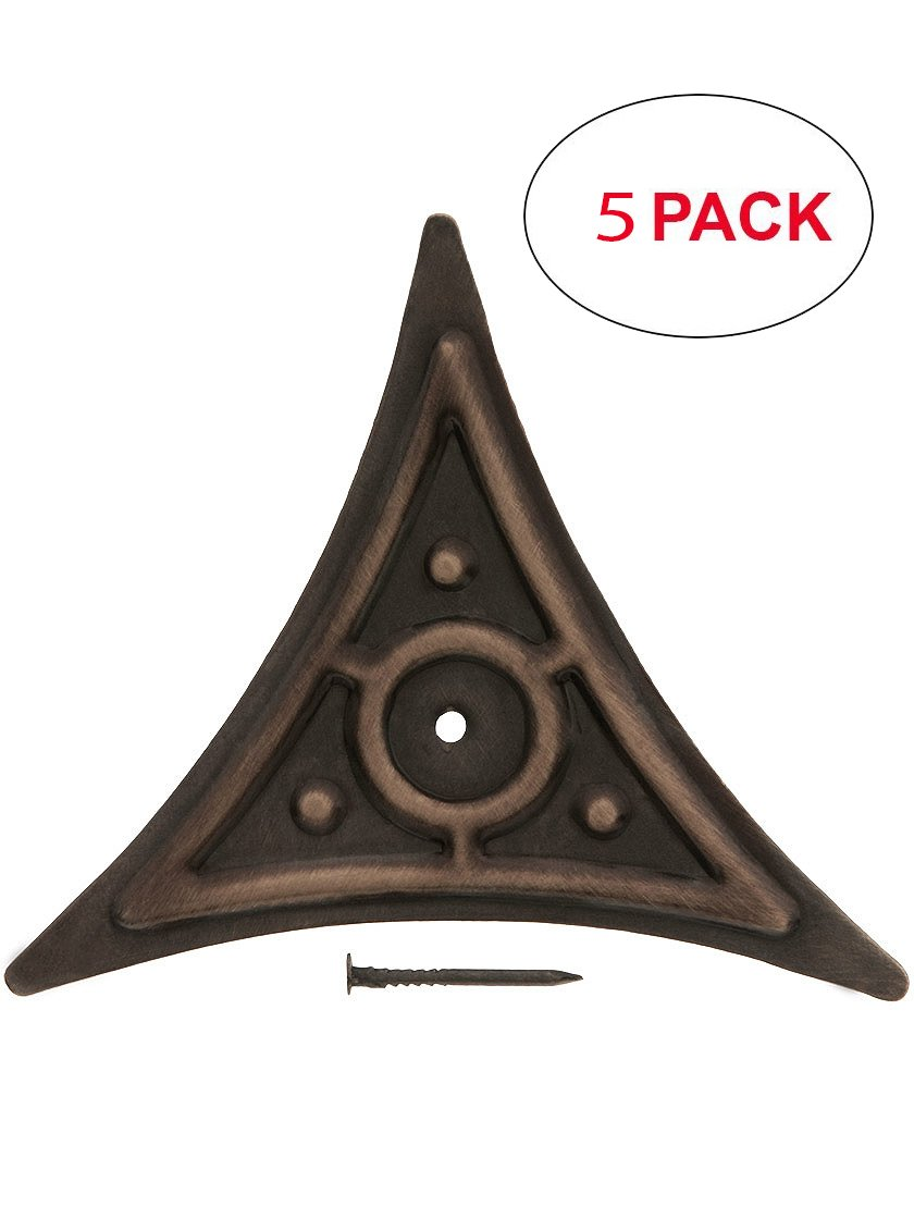 House of Antique Hardware R-010MG-DC1-OB-5 Decorative Brass Dust Corner in Oil-Rubbed Bronze (5 Pack)