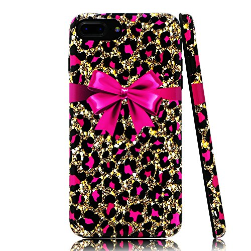 Lartin Pink Cheetah Print and Bowknot Soft Flexible Jellybean Gel TPU Case for iPhone 8 Plus/iPhone 7 Plus/iPhone 6S Plus/iPhone 6 Plus