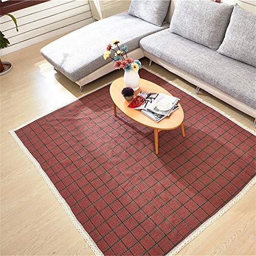ZTMN Fashion Area Rugs and Living Room Mat Cotton Baby Child Crawling Rug Living Room Bedroom Bedside Carpet Mattress Door Mat Red Plaid Swivel Chair pad (Size : 90 180cm) (Swivel Chair Plaid)