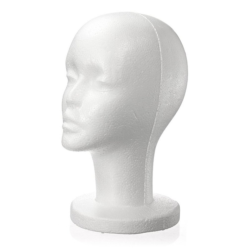 Connoworld Fashion Female Foam Head Model Professional Bald Manikin Mannequin Head Hat Cap Wig Hair Jewelry Headset Glasses Display Stand Tool(White)
