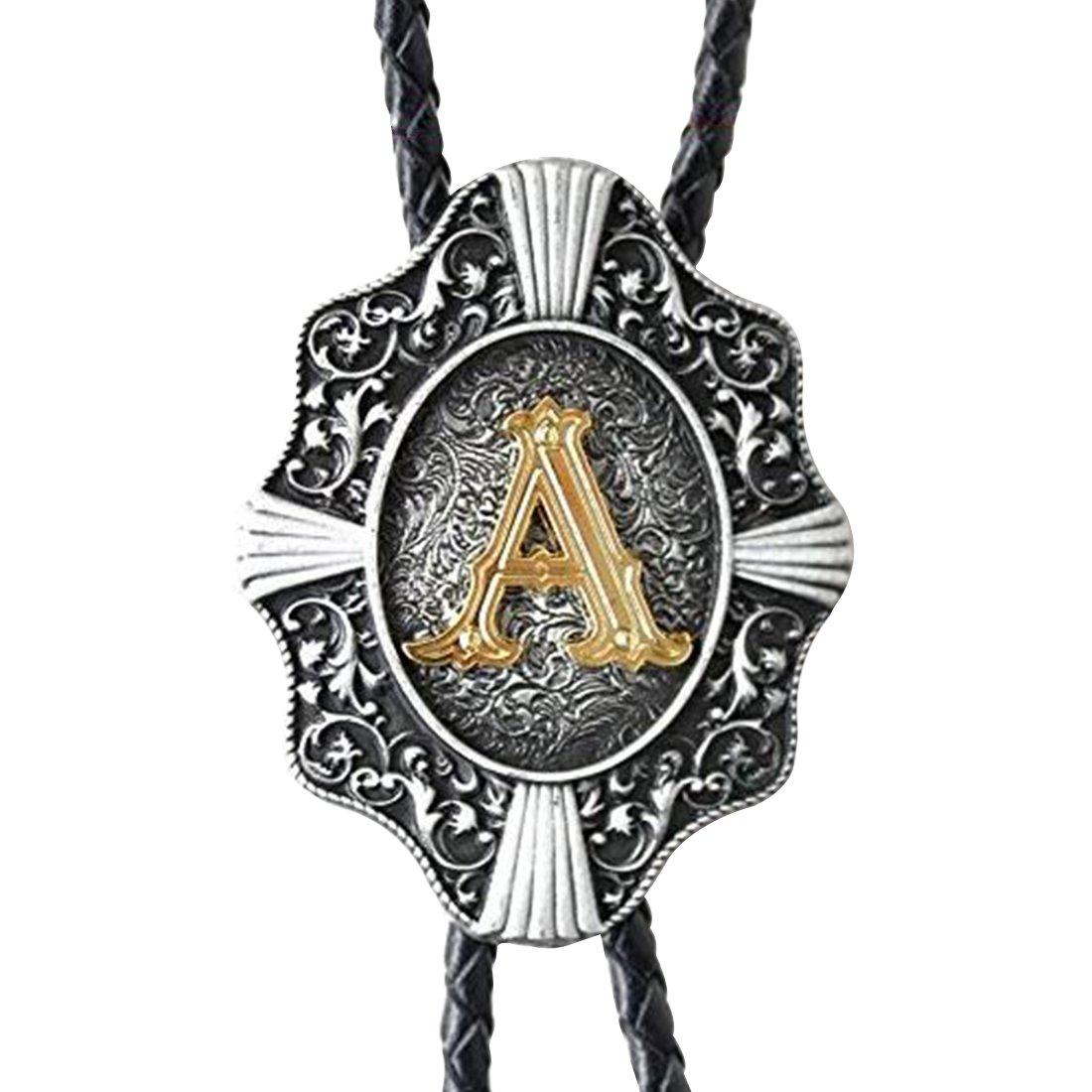 QD-WST New Vintage Letter Bolo Tie for Men Cowboy Gold Initials Necklace J