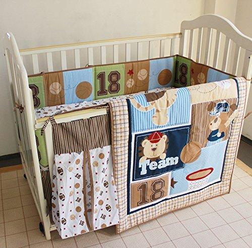 NAUGHTYBOSS Boy Baby Bedding Set Cotton Cartoon Bear Play Baseball Pattern Quilt Bumper Bedskirt Fitted Diaper Bag 8 Pieces Set Blue by NAUGHTYBOSS (Image #3)
