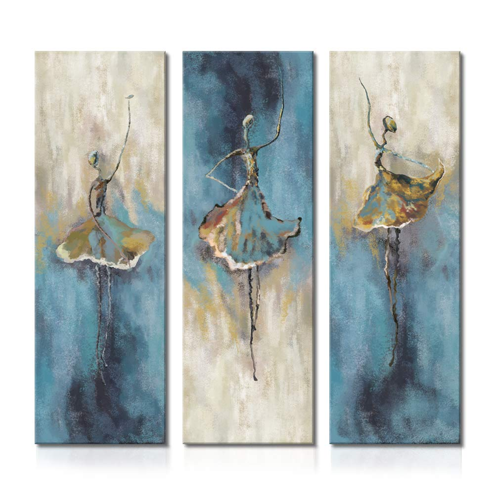 Cuadros de lienzo sin marco para pared. Arte de estilo nórdico vintage de niña bailarina