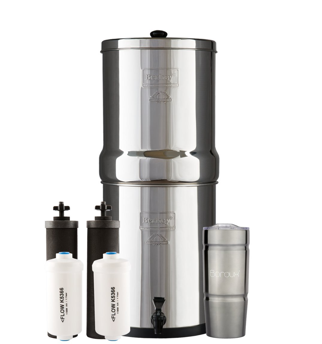 ROYAL Berkey Water Filter System with 2 Black Purifier Filters (3 Gallons) Bundled with 1 set of Fluoride (PF2) Filters and 1 Boroux Double Walled 20 oz Stainless Steel Tumbler Cup