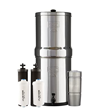 Bundle Includes: Royal Berkey Water Filter System with 2 Black Purifier Filters (3 Gallons) Bundled with 1 Set of Fluoride (PF2) Filters and 1 BX Double Walled 20 oz Stainless Steel Tumbler Cup
