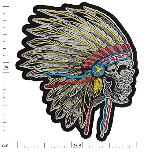 Big XL Iron on Patch - Skull Native American Biker -9.8 X 9.2 inches - Tribal Embroidered Sew on Patches Embroidery Applications Applique Patches for Clothing Jacket Jeans - Treasure-Quest