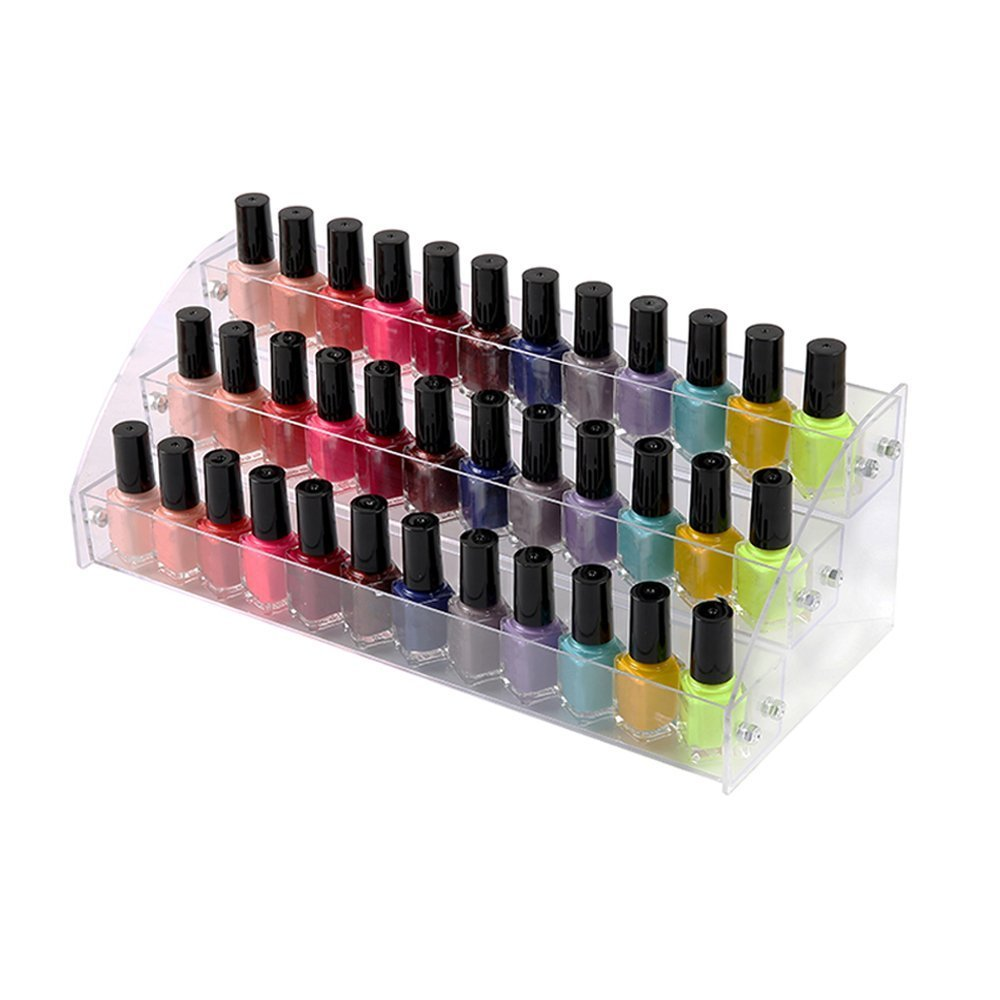 3 Tiers Acrylic Display Stands for Essential Oils Organizer Lipstick Nail Polishes Makeup Storage Retail Store Display Case Brochure Holder Space Saver Agentia Container Exhibition Sample Show Dresser