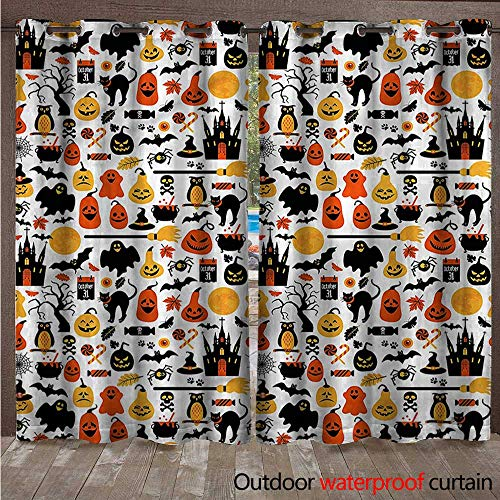 BlountDecor Halloween Outdoor Waterproof Curtain Candies Owls and Castles W108 x L108