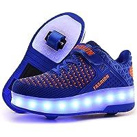 Knnnen USB Chargable LED Light Up Double Wheeled Roller Skate Sneaker Shoes for Boys Girls Kids Size: 4 Big Kid