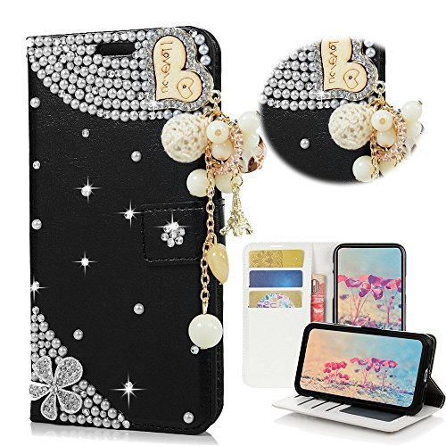 EVTECH HTC Desire 10 Pro Case, [Card Slot] [Kickstand Feature] Design Flip Leather 3D Handmade Bling Crystal Metal Butterfly Flower Rhinestones Diamond Wallet Case Cover for HTC Desire 10 Pro