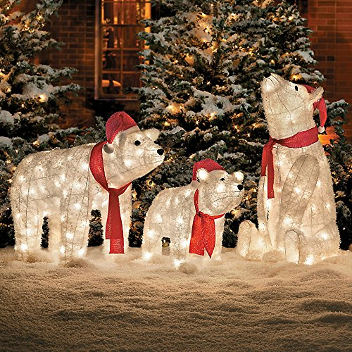 pre lit polar bear christmas decoration set of 3 - Polar Bear Christmas Decorations