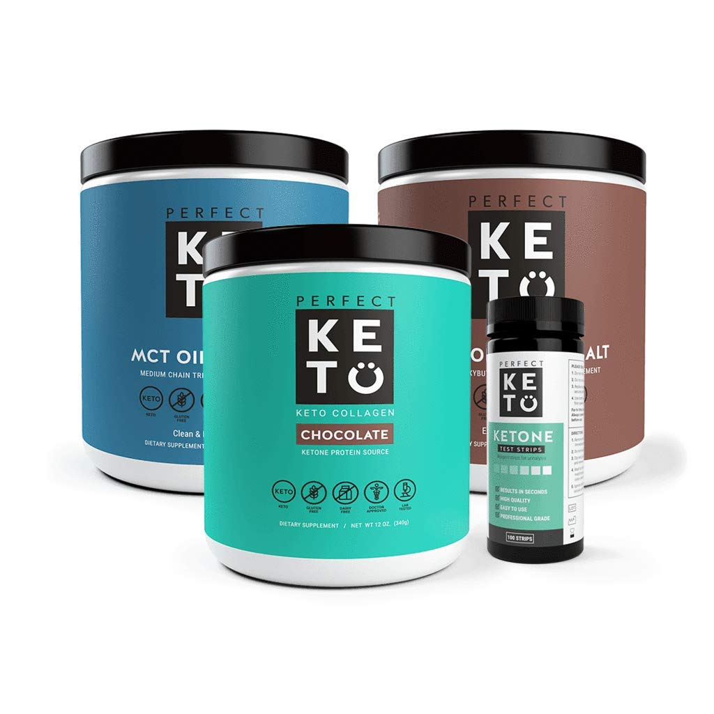 The Perfect Keto Starter Bundle for Ketogenic Diet | Best to Burn Fat and Support Energy | Includes Collagen, MCT Oil, Exogenous Ketone Base & Testing Strips (Chocolate) by Perfect Keto