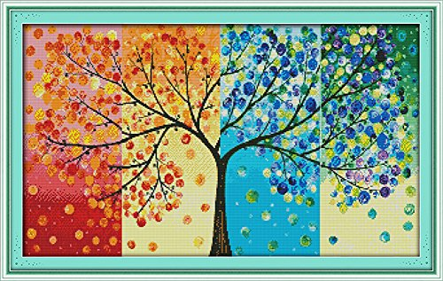 CaptainCrafts Hots Cross Stitch Kits Patterns Embroidery Kit - Four Seasons Money Tree (WHITE)