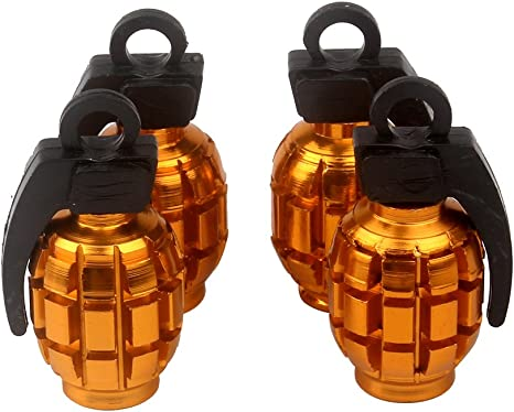 Senzeal 4x Aluminum Grenade Bomb Style Universal Car Truck Motocycle Wheel Tyre Valve Caps Bicycle Tire Air Valve Cover Black