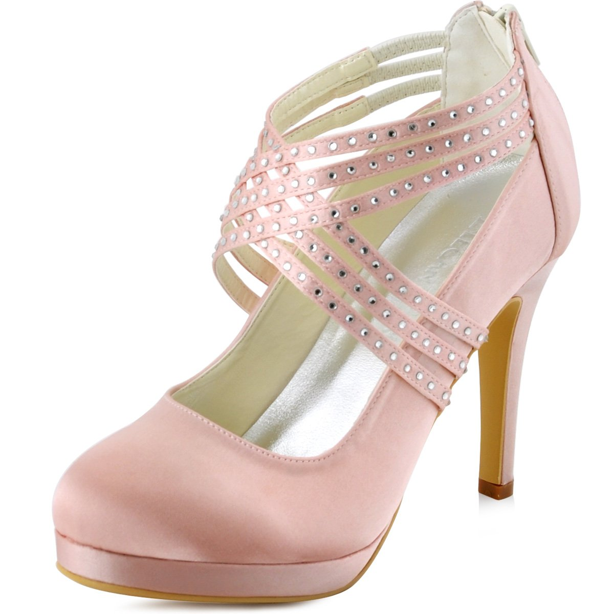 ElegantPark Women High Heel Pumps Closed Toe Platform Strappy Satin Evening Prom Dress Wedding Shoes B011B276OS 7 B(M) US Pink