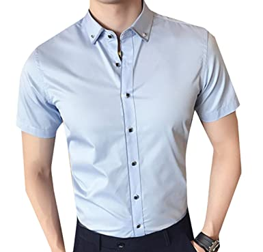 WSPLYSPJY Men Short Sleeve Business Solid Color Button Down Shirts ...