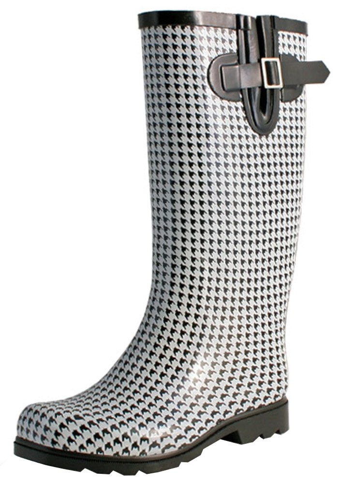 TWO Nomad Women's Drench Colorful Pattern Print Waterproof Rain Boots,9 B(M) US,Black/White Houndstooth