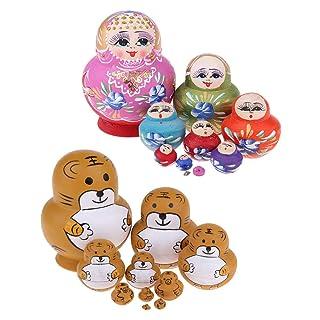 P Prettyia 20pcs Mini Tigers e Babushka Flower Dolls per Accessori per Bambini Giocattoli DIY