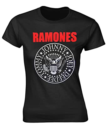 8d0f645b1 Amazon.com: Ramones 'Red Logo Presidential Seal' Womens Fitted T ...