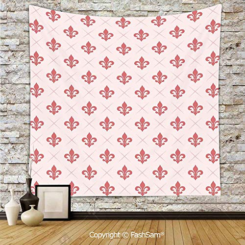 FashSam Polyester Tapestry Wall Checkered Pattern with Ancient Symbol of Fleur De Lis Royal French Lily Flower Hanging Printed Home ()