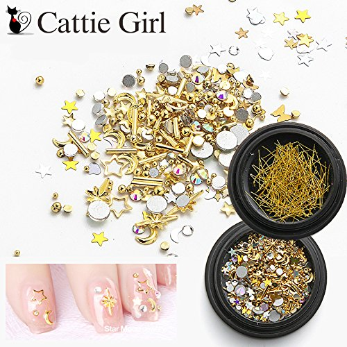 Cattie Girl 2 Boxes Star Moon Nail Rhinestones Constellation Mixed Metal Rivet Decorations Line Nail Galaxy Crystal Accessoires Nail Art Set