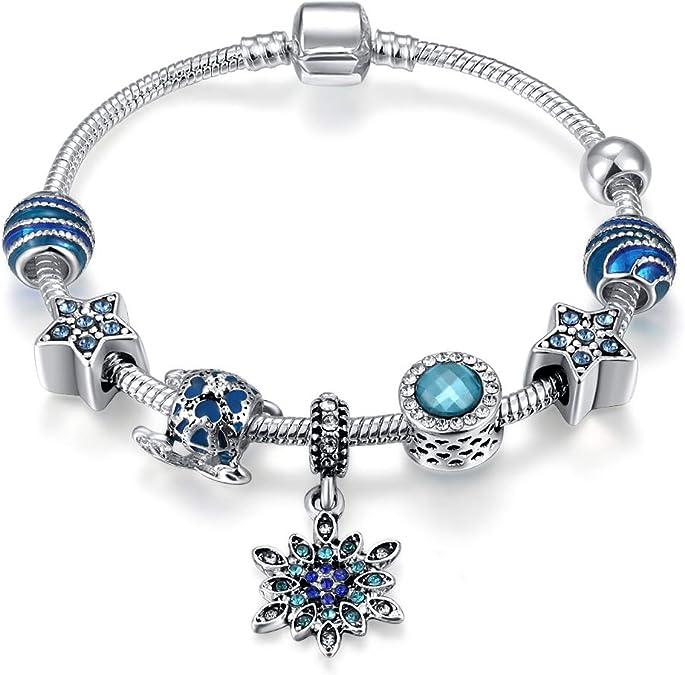 Qings Plaqu/é Argent Charm Bracelets Cadeau de Noel pour Les Femmes Mode Bijoux