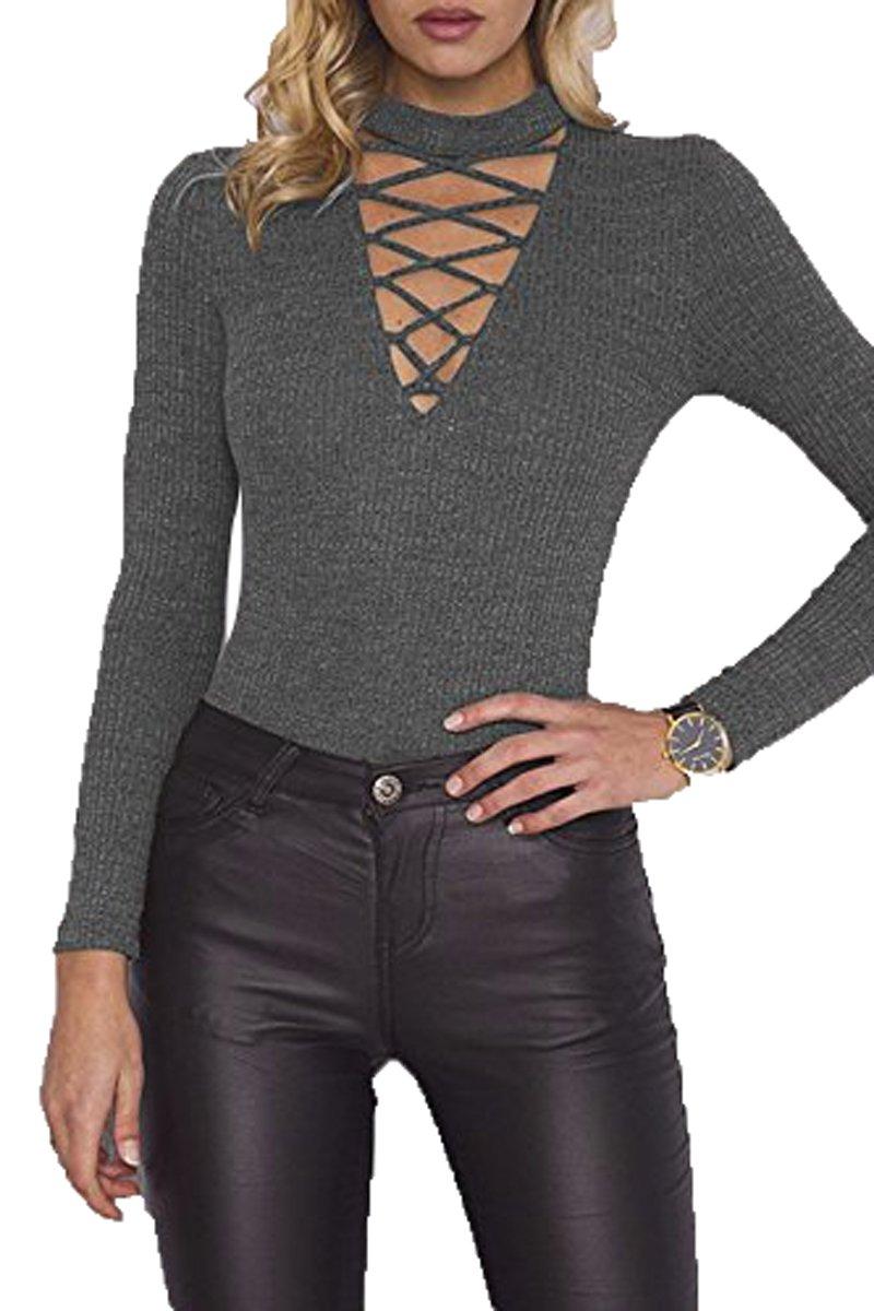 Mulisky Women Choker V Neck Lace up Long Sleeve Jumpsuit Ribbed Kintted Bodysuit
