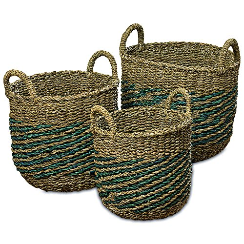 WHW Whole House Worlds Made by Nature Seagrass Baskets, Round, Top Handles, Natural Chunky Sweater Weave, Set of 3, Blue Stripes, Handmade, from Over 1 ½ Ft Tall to 1 Ft 2 Inches, for Storage