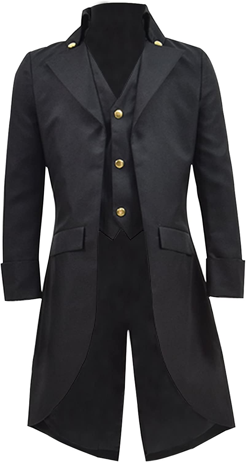 Steampunk Vintage Tailcoat Jacket Gothic Victorian Frock Black Steampunk Coat Uniform Costume for Child (Big Boys 8, Black)