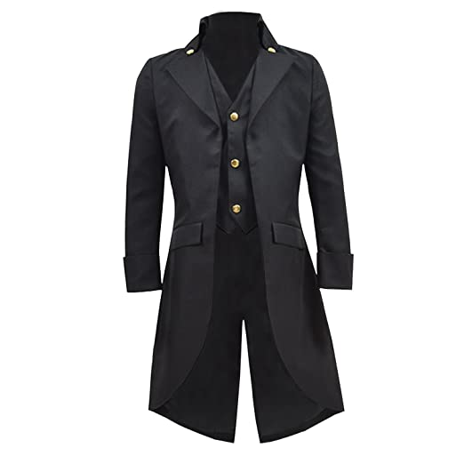 8f395c8309dd Amazon.com  COSSKY Boys Gothic Tailcoat Jacket Steampunk Long Coat  Halloween Costume  Clothing