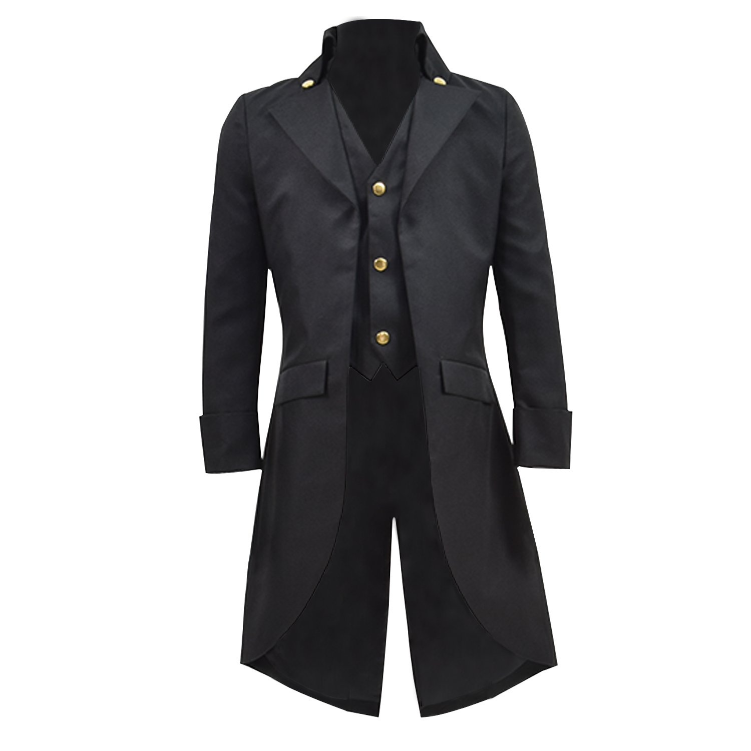 COSSKY Boys Gothic Tailcoat Jacket Steampunk Long Coat Halloween Costume (Black,10) by COSSKY