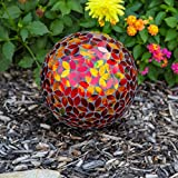 Lily's Home Holographic Mosaic Flower Petal Glass Gazing Ball, Red and Gold, 10-Inch