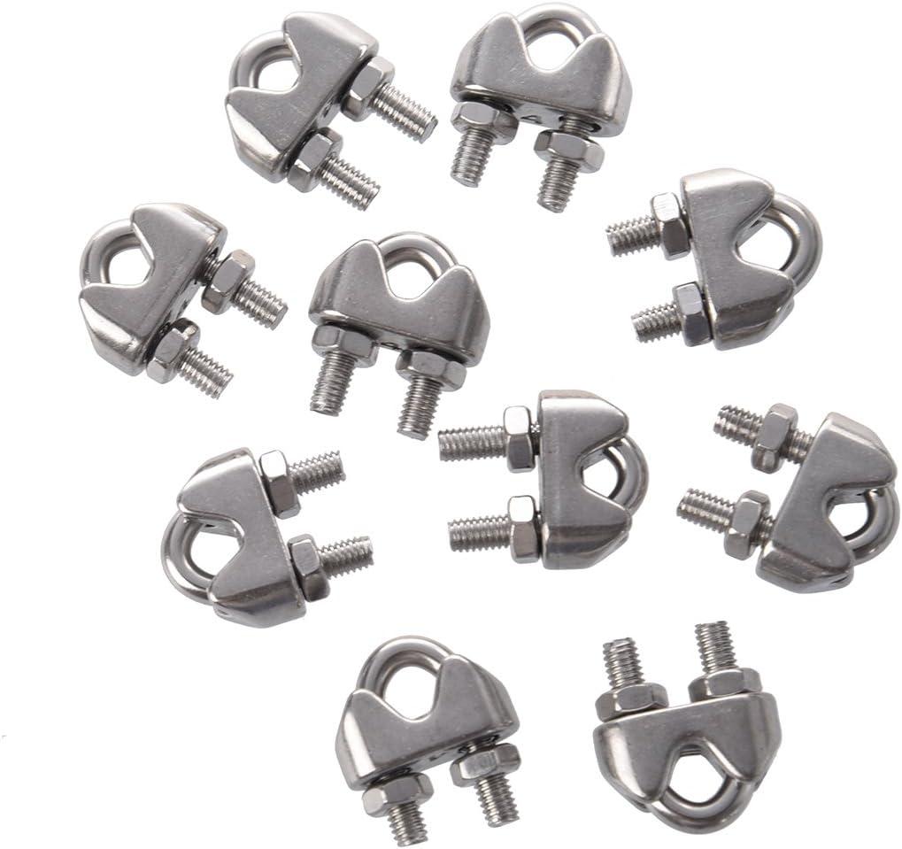 Gaoominy 10 piezas Clip de cable de acero inoxidable tono de plata 4mm