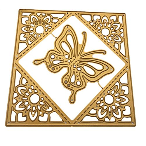 Gold Scrapbooking Die Cuts Card Album Craft Decoration Making Metal Embossing Scrapbooking DIY for Happy Birthday Wedding Gift by Einfachheit (butterfly)